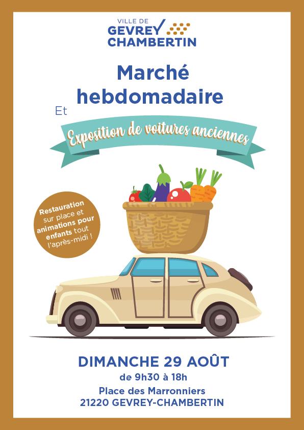Marché hebdo et expo de voitures anciennes